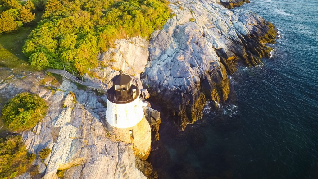 Drone aerial of Castle Hill at sunset, Newport, Rhode Island, USA