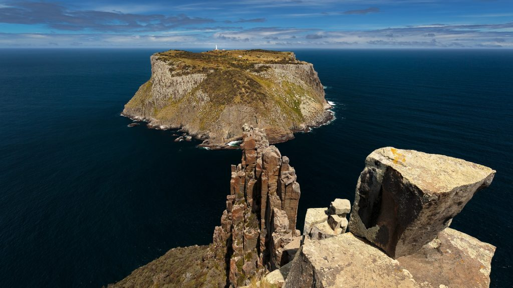 The dolerite cliffs and island at Cape Pillar, Tasmania, Australia