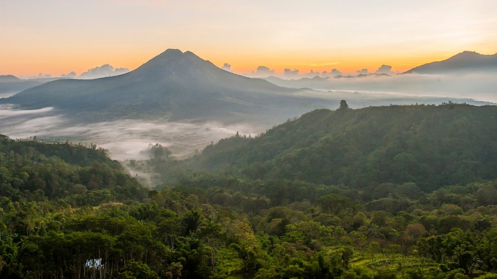 Hilltops over morning fog in remote landscape, Kintamani, Bali, Indonesia