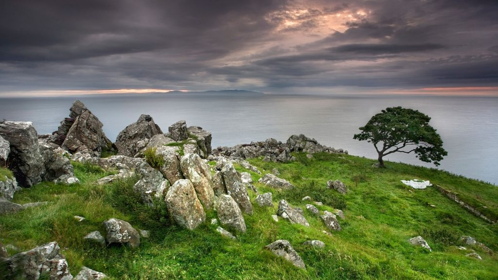 Murlough Bay at dusk, County Antrim, Northern Ireland, UK