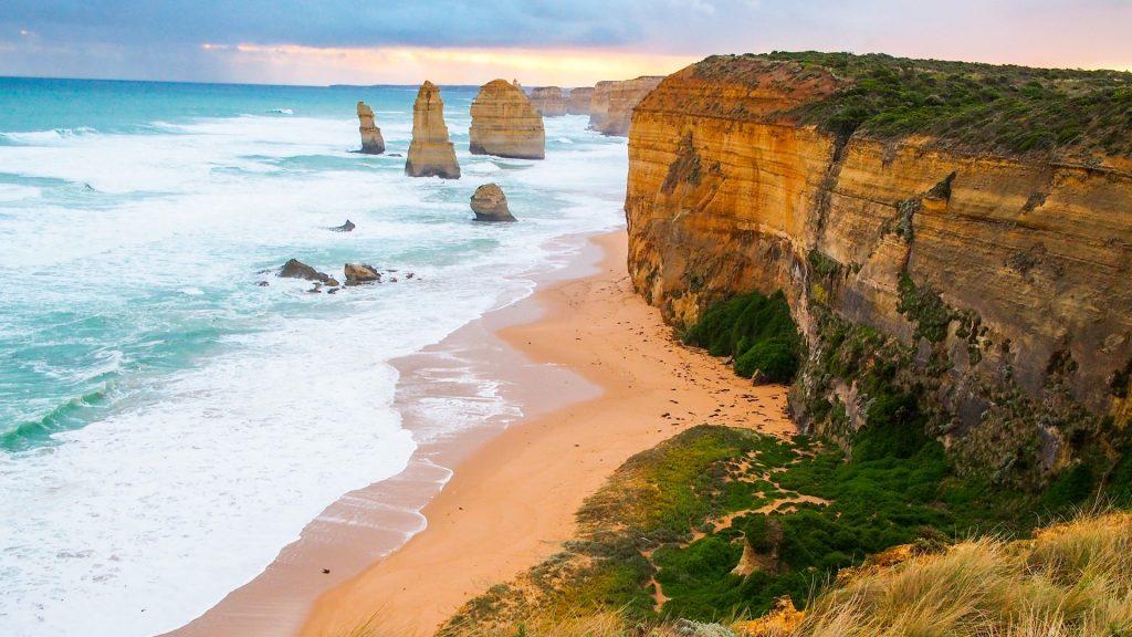 Twelve apostles coastal view, sandstone rocks with Pacific Ocean, Victoria, Australia