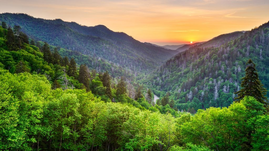 Sunset at the Newfound Gap in the Great Smoky Mountains, Tennessee, USA