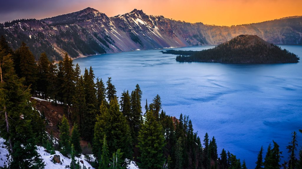 Sunset over Crater Lake National Park, Oregon, USA
