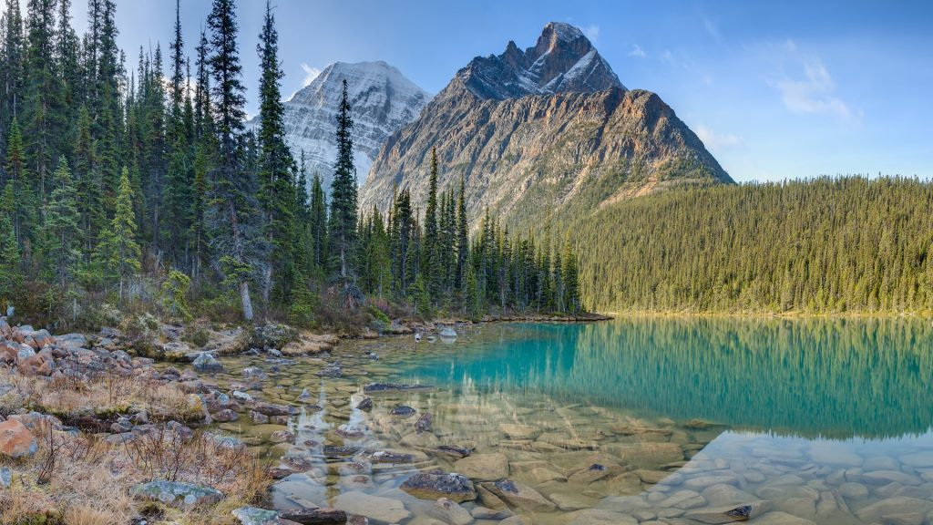 Mount Edith Cavell reflection on Cavell Lake, Jasper National Park, Canada