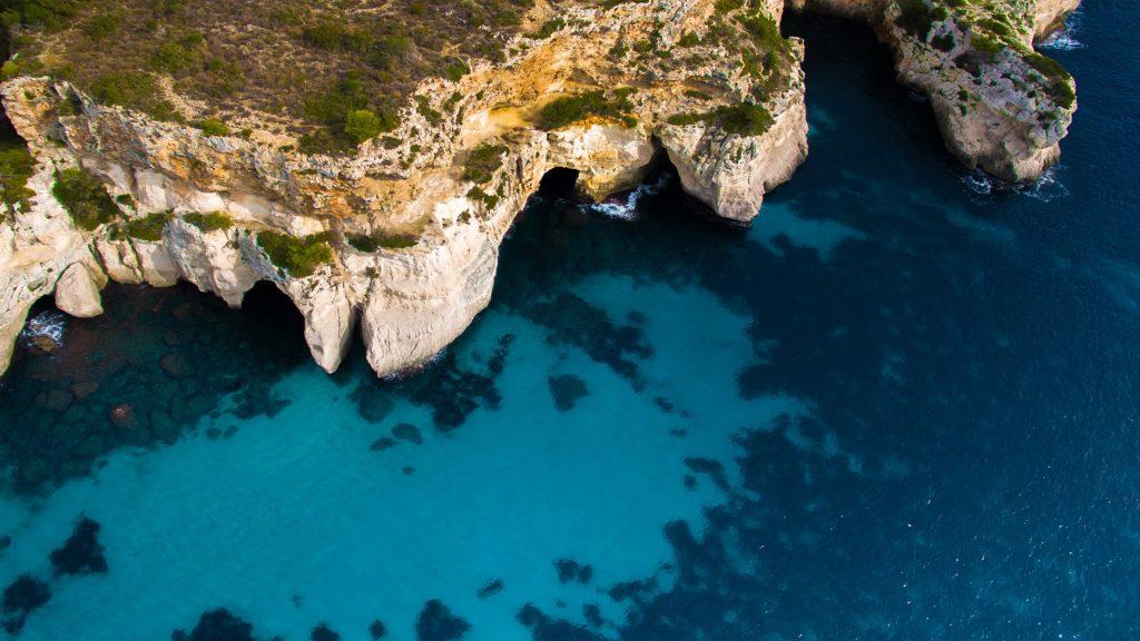 Aerial view of Cala Macarella beach on Menorca island, Balearic islands, Spain