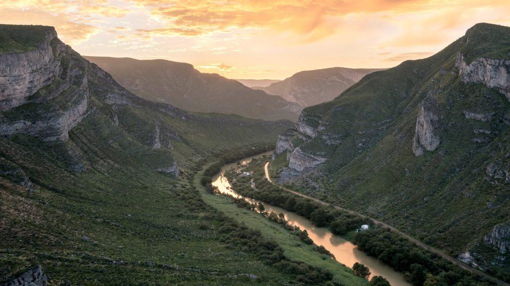 View of Nazas River at sunrise in area of Canon de Fernandez in Durango, Mexico