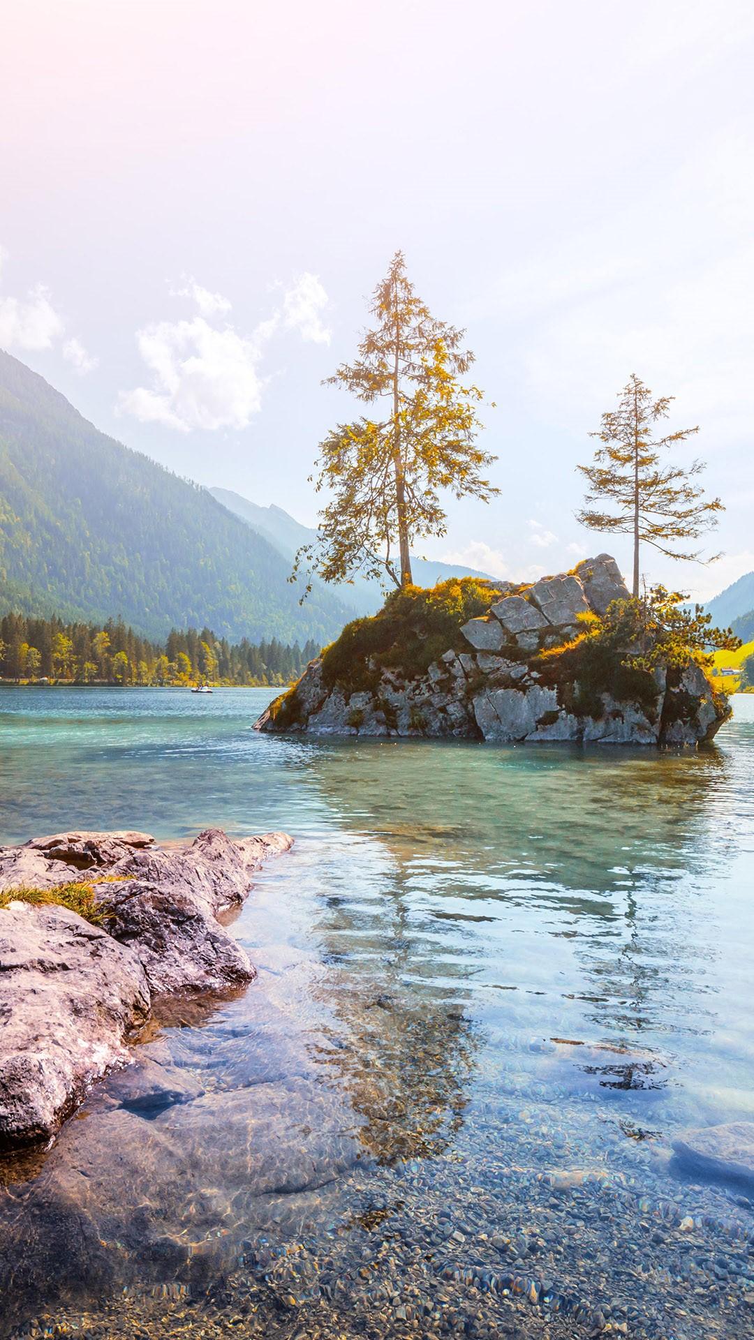 Sunny Summer Day On The Hintersee Lake Ramsau Bavaria