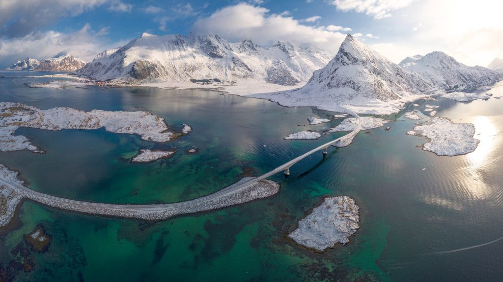 Aerial view of Fredvang bridge and Volanstinden mountain, Flakstad, Lofoten Islands, Norway