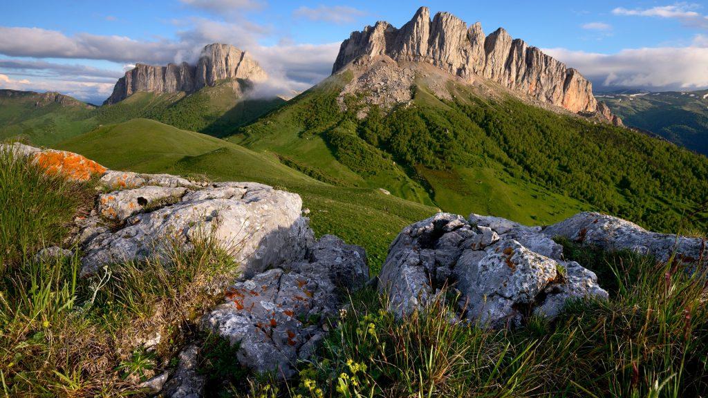 Rocks and Acheshboki (Devils Gates) mountains, Bolshoy Thach (Big Thach) Nature Park, Caucasian Mountains, Adygea, Russia