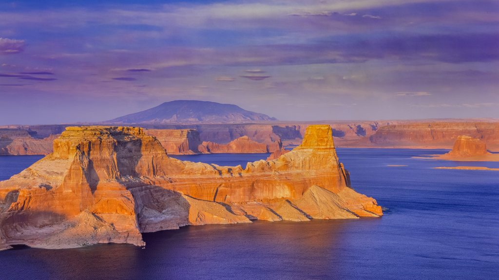 Gunsight Butte over Lake Powell in Page, Arizona, USA