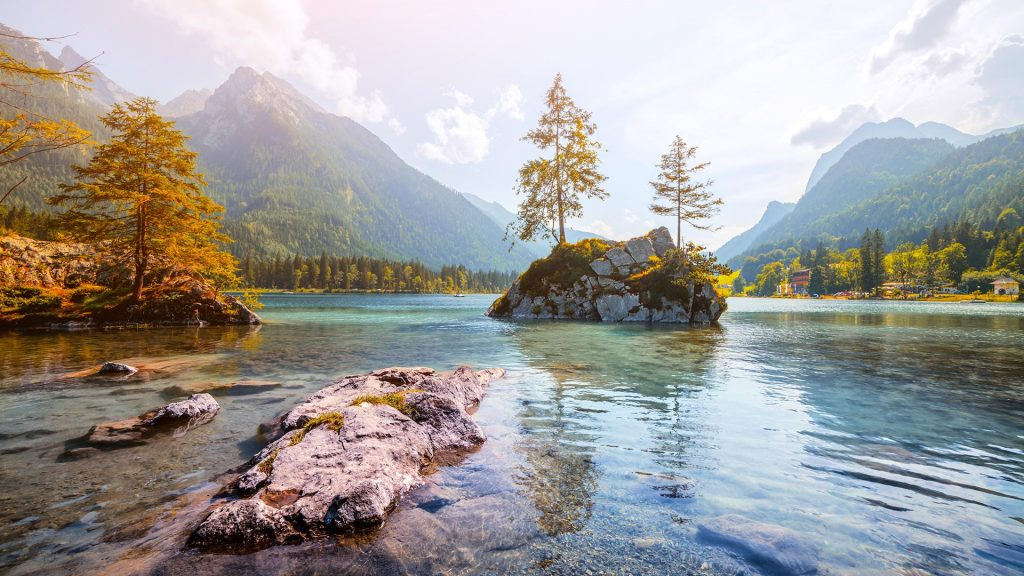 Sunny summer day on the Hintersee lake, Ramsau, Bavaria, Germany