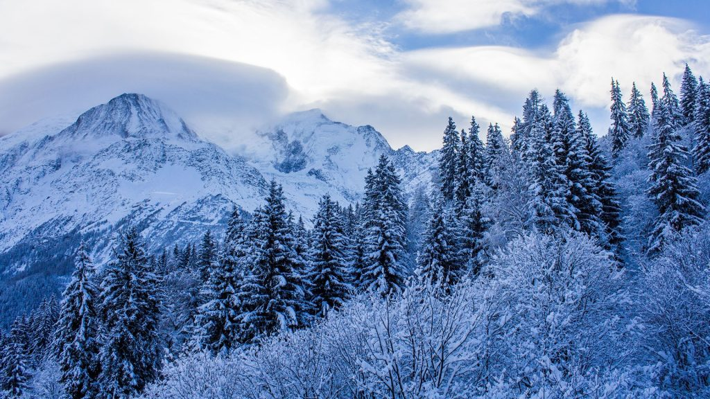 Les Houches in the Chamonix Valley and Mont Blanc, France
