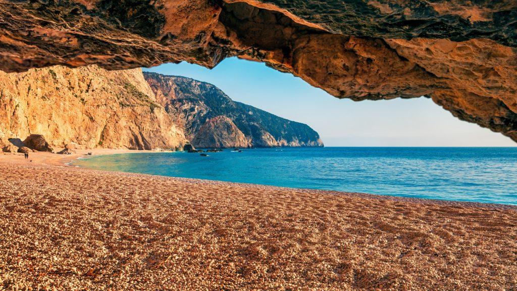 Spring morning view of Porto Katsiki Beach on Lefkada Island, Ionian Sea, Greece