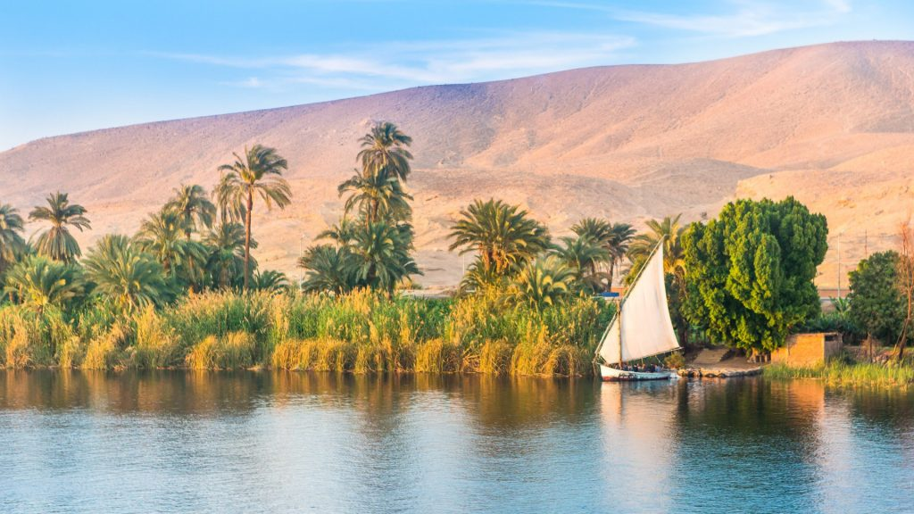 River Nile at late afternoon before sunset, Luxor, Egypt