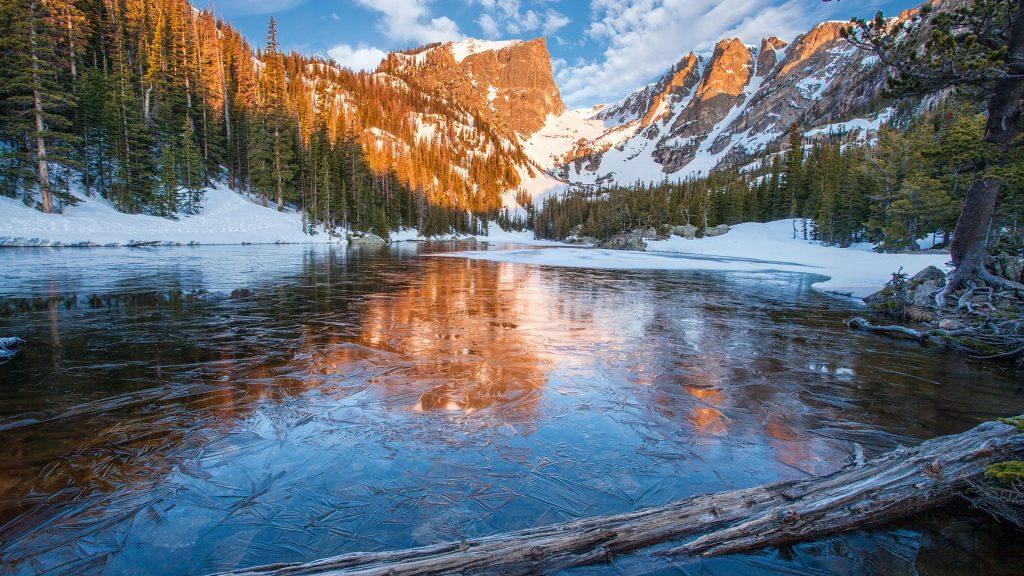 First ice on Dream Lake in Rocky Mountain National Park, Estes Park, Colorado, USA