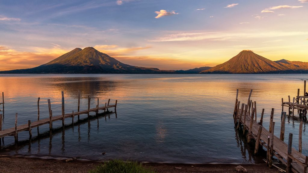 Lake Atitlán at sunrise, Panajachel, Guatemala