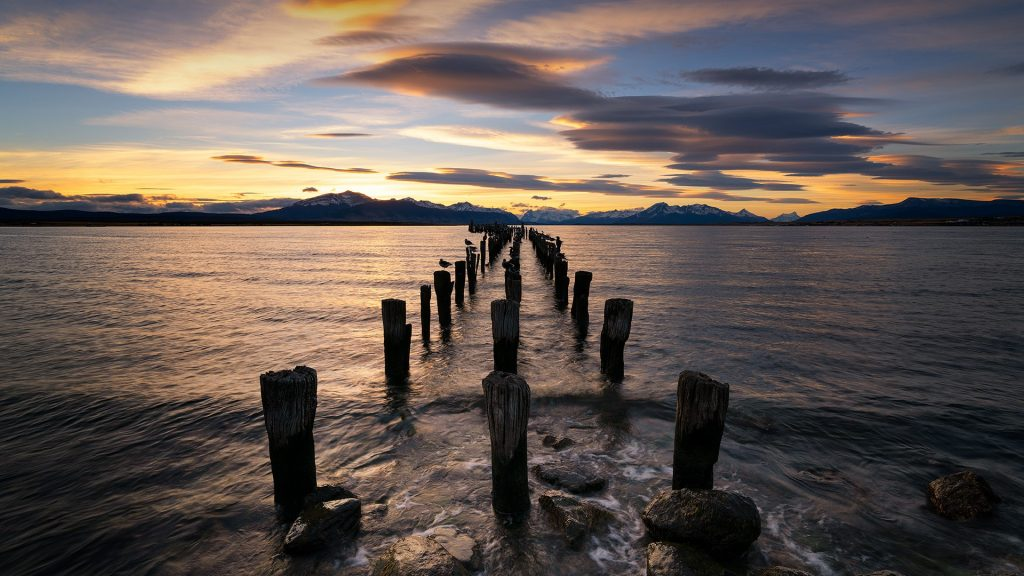 Sunset at Puerto Natales pier, Patagonia, Chile