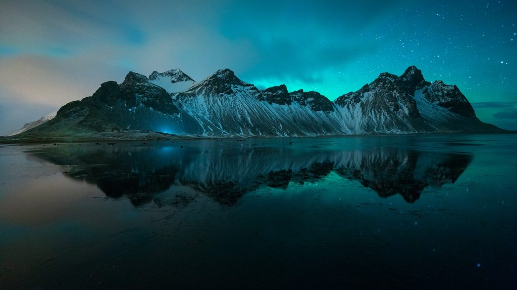 Amazing northern lights in winter, Stokksnes, Vestrahorn, Höfn, Iceland