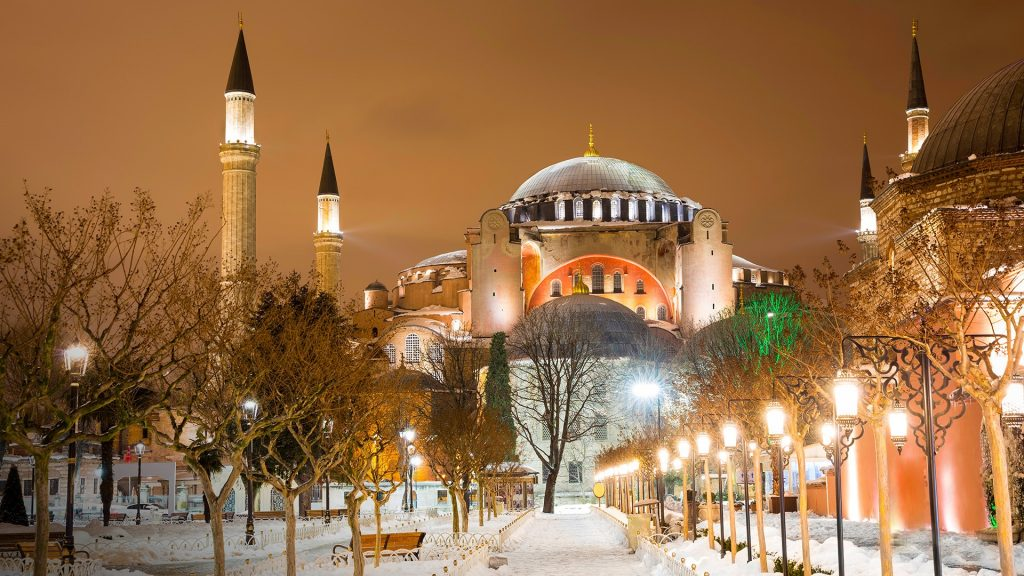 View of Hagia Sophia (Aya Sofya) museum in a snowy winter night, Istanbul, Turkey