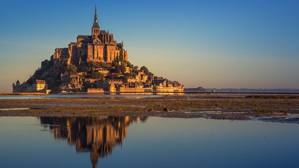 Mont Saint Michel bay at high tide, Manche, Normandy, France
