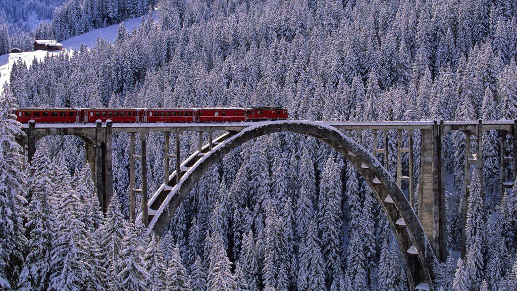 Arosa Express train across the bridge near Langwies in Arosa valley, Graubunden, Switzerland