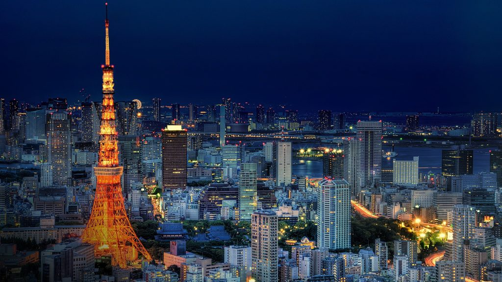 Tokyo Tower and skyline during blue hour, Minato, Tokyo, Japan