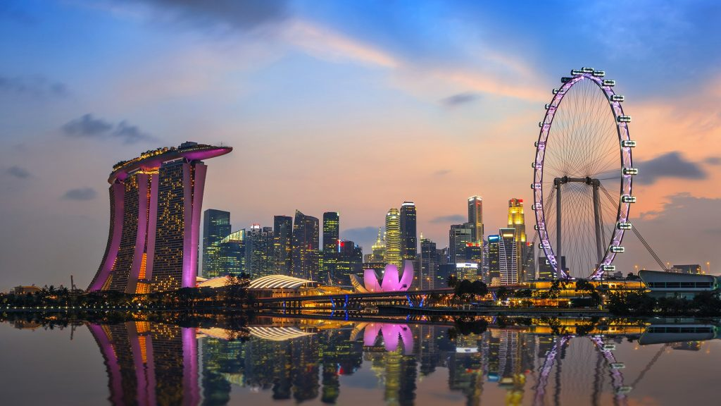 Singapore city skyline and Singapore Flyer at Marina Bay