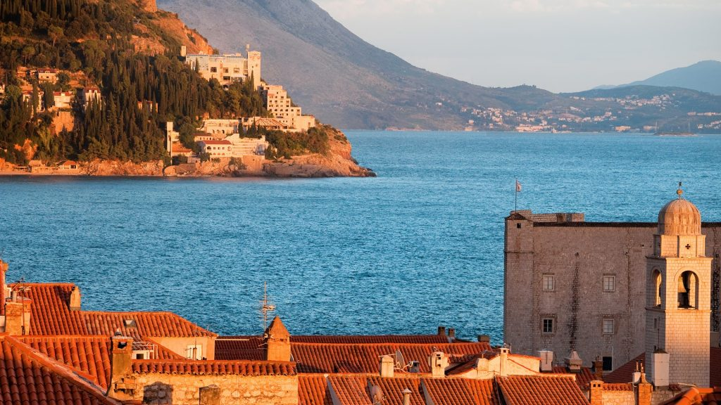 View from the Dubrovnik Old Town on Adriatic Sea coastline at sunset, Croatia