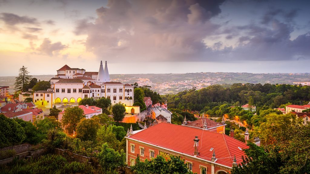 Old town view at Sintra National Palace, Lisbon, Portugal