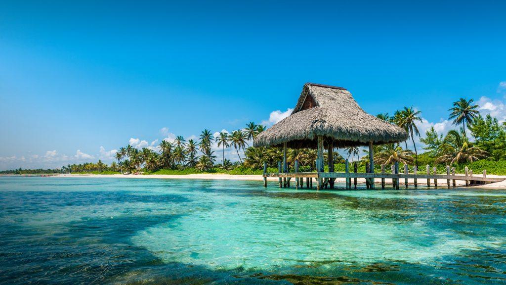 Thatched beach hut at Playa Blanca, Punta Cana, La Altagracia, Dominican Republic