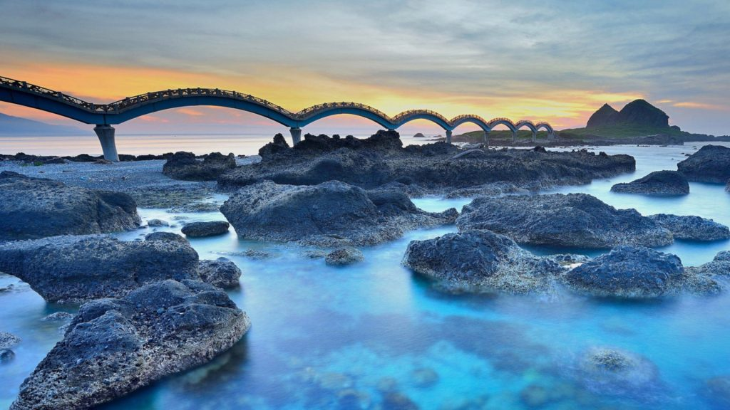 Eight arch footbridge connecting Sanxiantai Island to Taitung, Taiwan