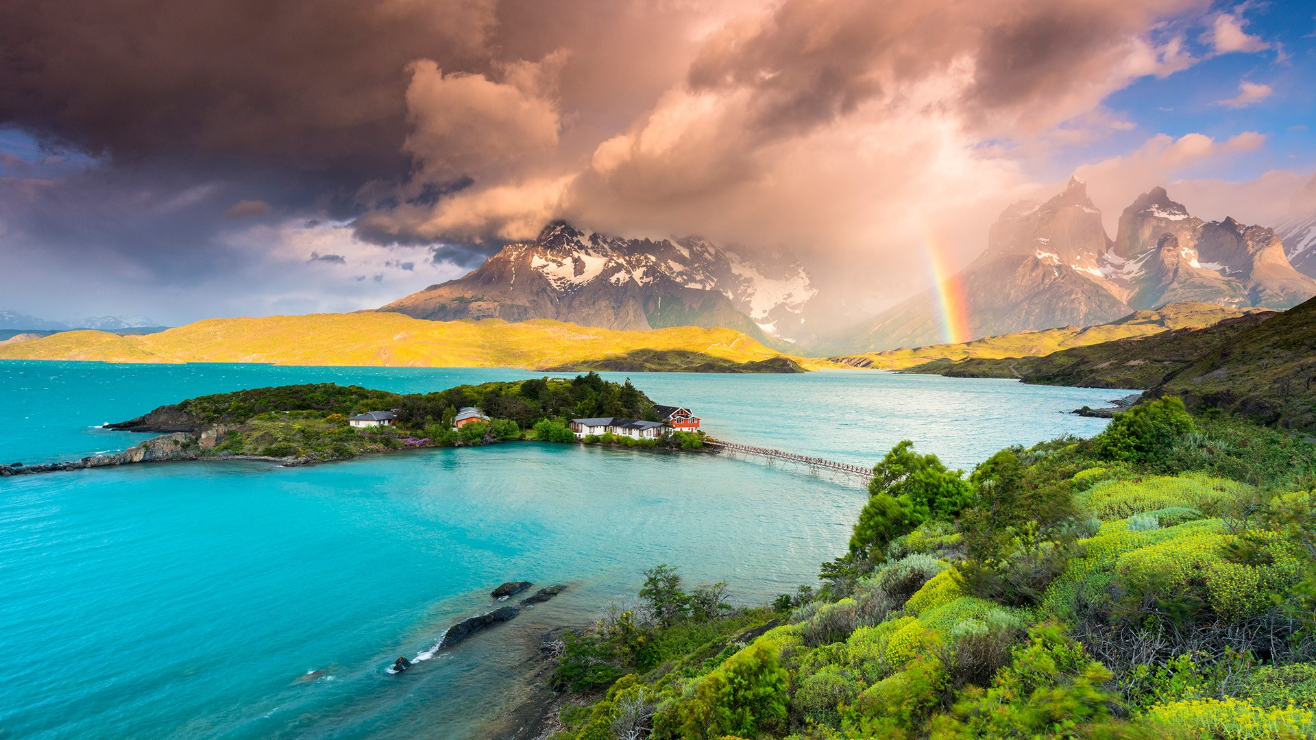 View over lake Pehoe and the Torres del Paine, Patagonia, Chile