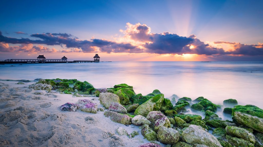 Sunrise magic over the Caribbean, Cancun, Mayan Riviera, Quintana Roo, Mexico
