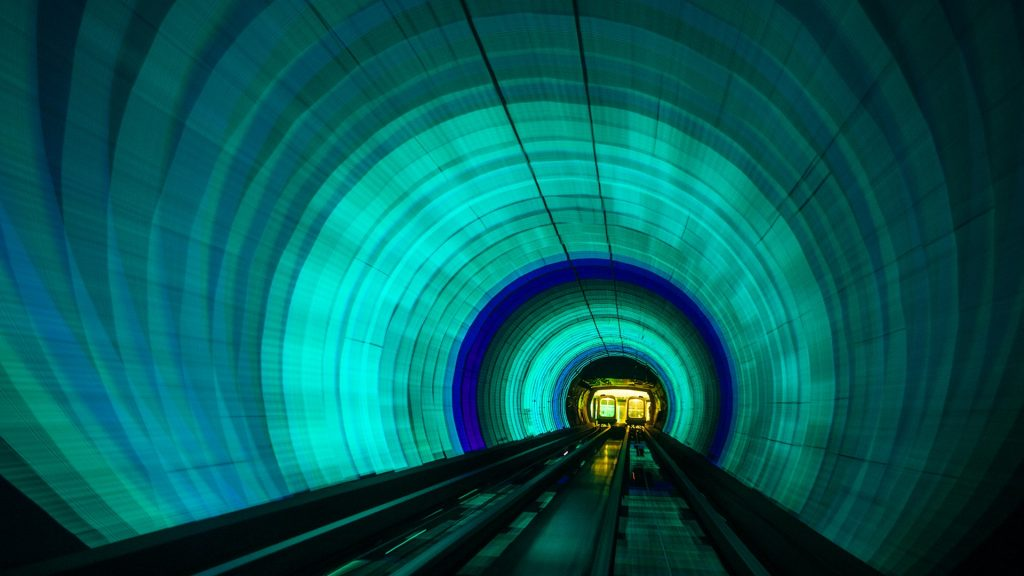 Singapore colorful railroad tunnel under a river
