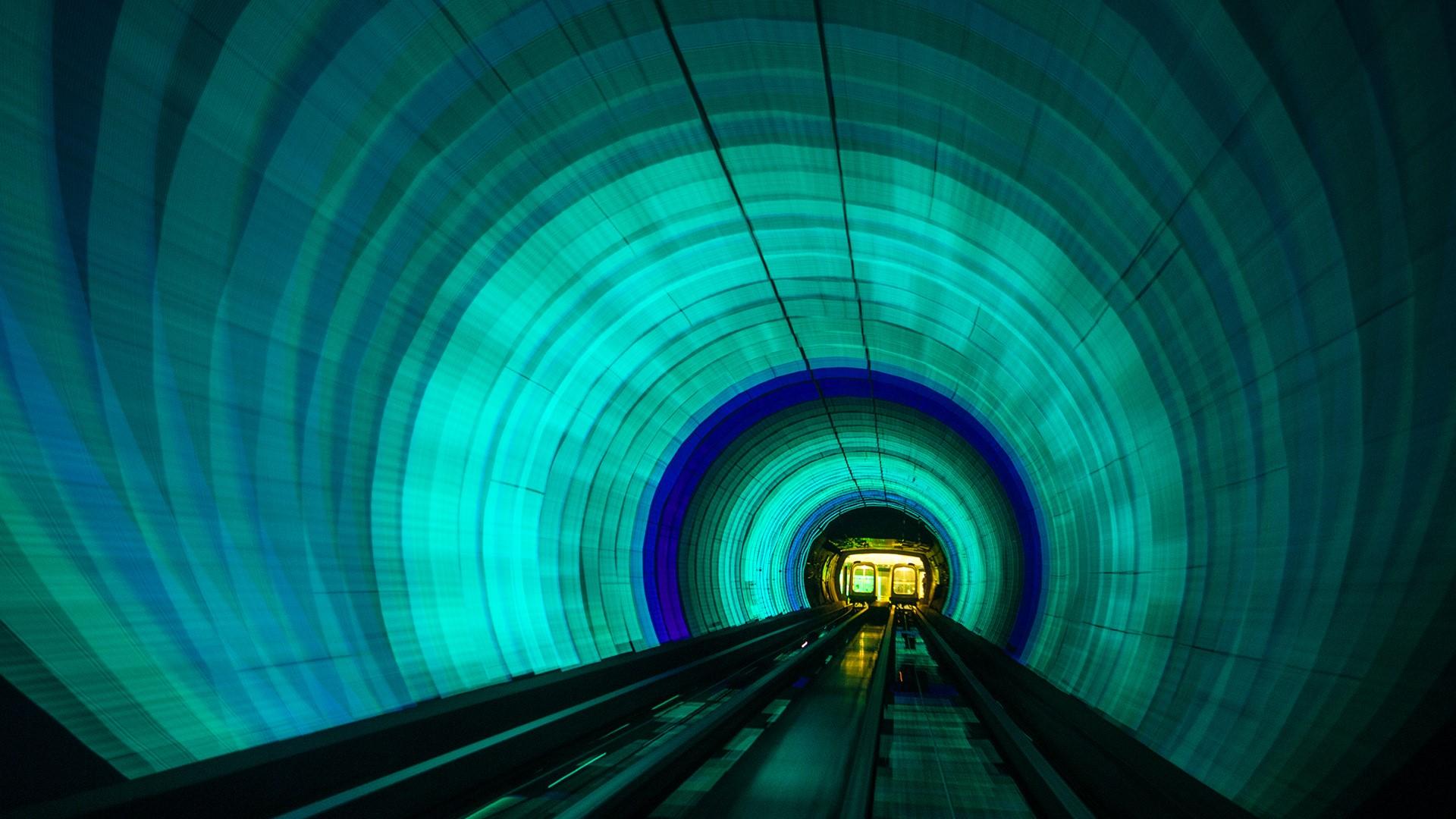 Singapore Colorful Railroad Tunnel Under A River Windows