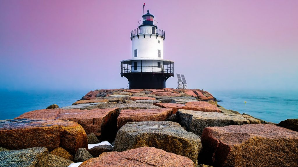 Spring Point Lighthouse on foggy evening, South Portland, Maine, USA