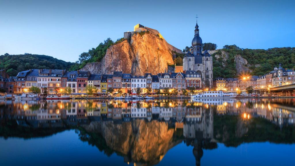 Citadel and cathedral of Dinant town on Meuse river, Namur, Wallonia, Belgium