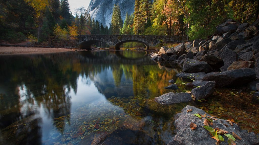 Bridge over the Merced River in Yosemite National Park, California Sierra Nevada, USA