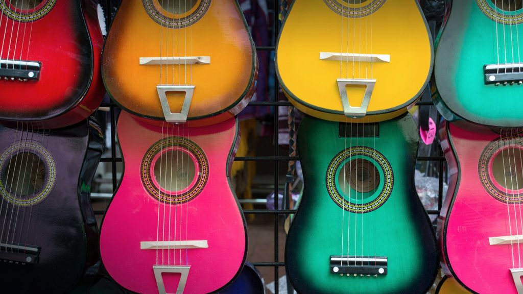 Colorful Mexican souvenir guitars at the market, San Antonio, Texas, USA