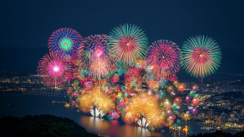 Biwako fireworks festival at Lake Biwa in summer, Otsu, Shiga, Japan