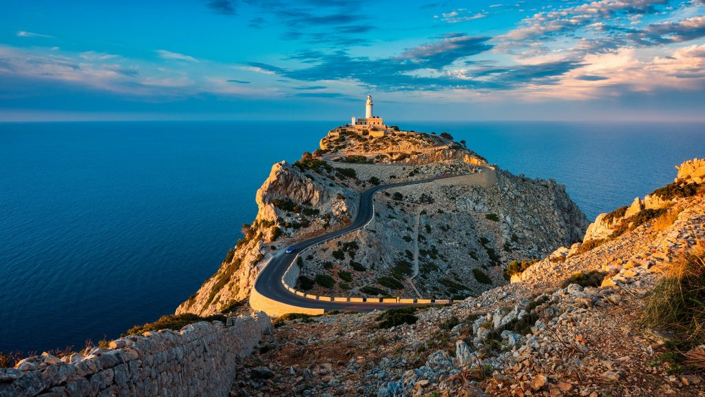 Lighthouse of Cap de Formentor around sunset, Mallorca, Pollença, Balearic Islands, Spain