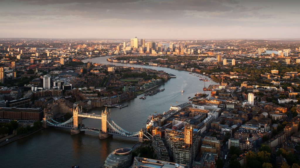 London view of Tower Bridge, River Thames and Canary Wharf, England, UK