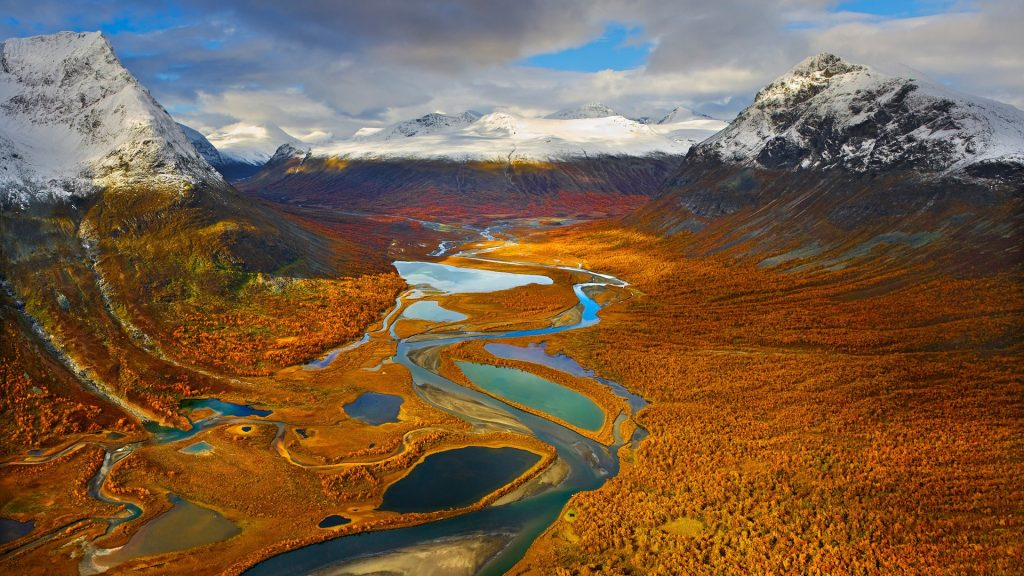 Rapa Valley at fall in Sarek National Park, Jokkmokk, Lapland, Sweden