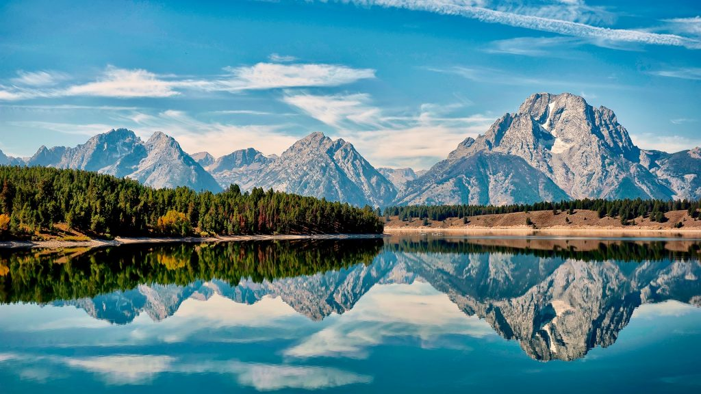 Mount Moran reflection in Jackson Hole, Wyoming, USA