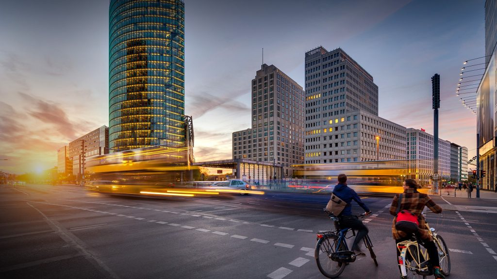 Potsdamer Platz at sunset with traffic, Berlin, Germany