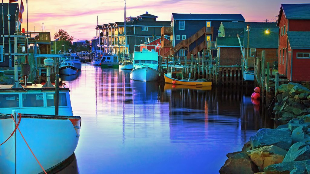 Sunset over Fisherman's Cove, Dartmouth, Nova Scotia, Canada