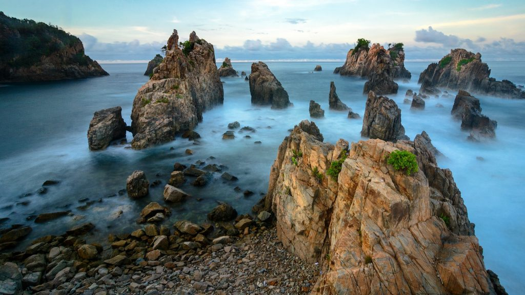 Gigi Hiu rock formation at Kelumbayan beach, Lampung, Sumatra, Indonesia