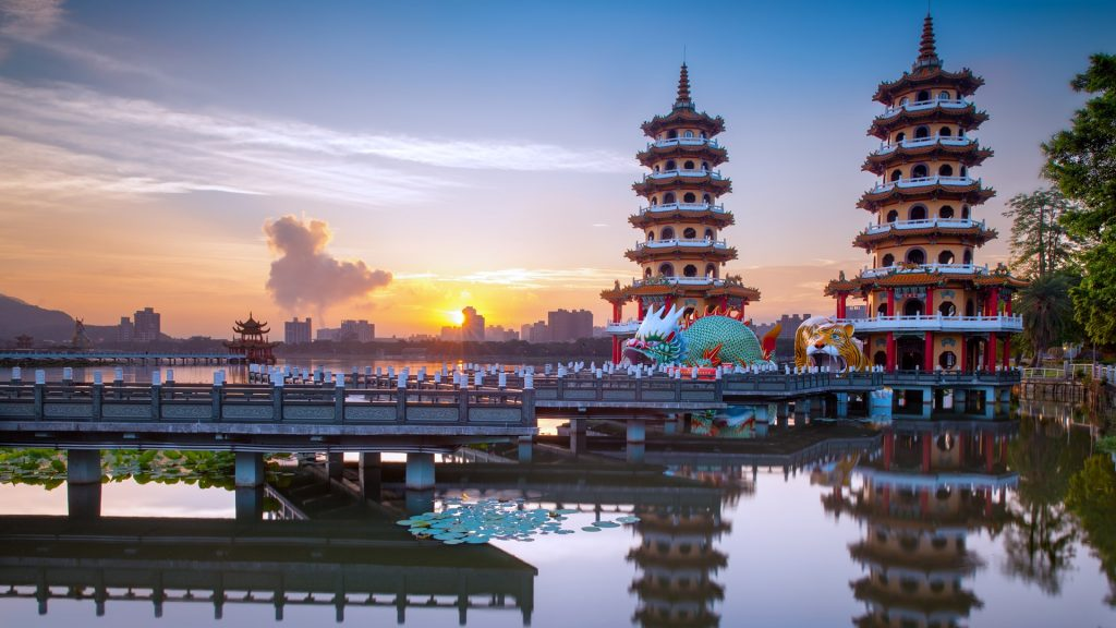 Dragon and Tiger Pagodas at Lianchihtan (Lotus Pond) during sunrise, Kaohsiung, Taiwan