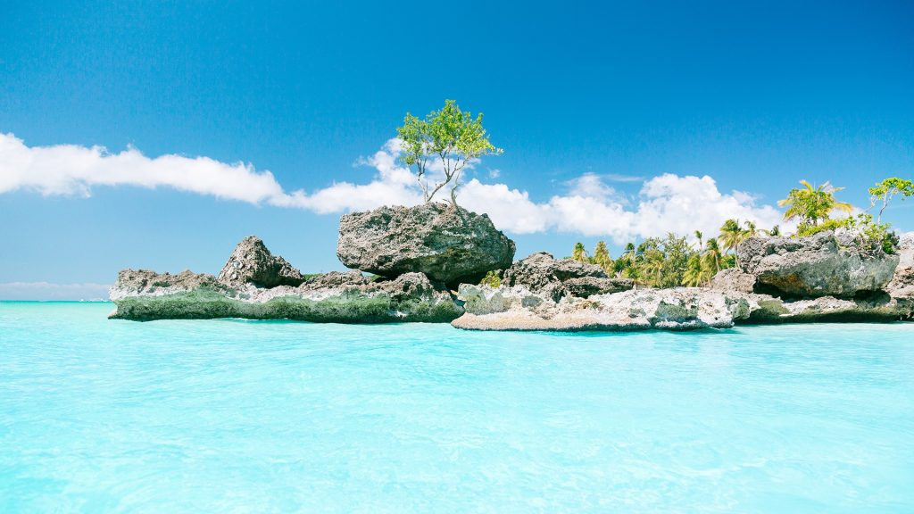 View to the Willy's rock at White beach, Boracay, Philippines
