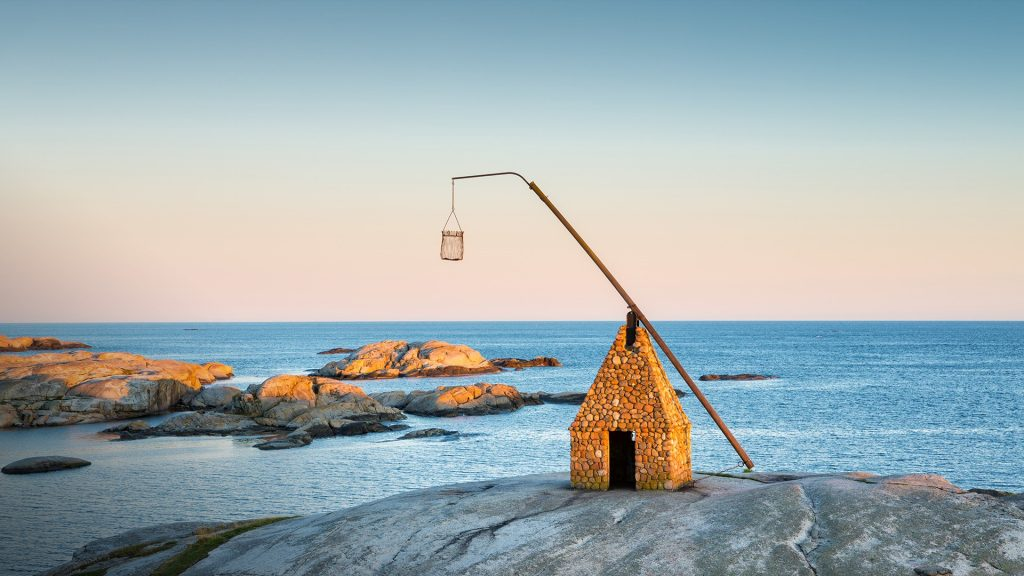 Verdens Ende Lighthouse at sunset, Tjøme, Vestfold, Norway